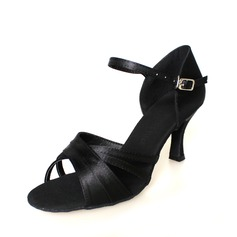 Women's Satin Heels Latin Dance Shoes (053009730)