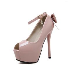 Femmes PU Talon stiletto Escarpins Plateforme À bout ouvert avec Bowknot chaussures (087132538)