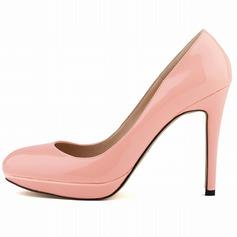 Женщины Лакированная кожа Высокий тонкий каблук На каблуках Платформа Закрытый мыс обувь (085059039)