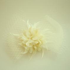 Senhoras Bonito Fio rede/Flor de seda A testa de jóias/Chapéu (042143670)