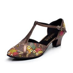 Женщины кожа На каблуках На каблуках Бальные танцы с Т-ремешок Обувь для танцев (053075282)
