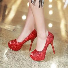 Mulheres Espumante Glitter Salto agulha Bombas Plataforma Peep toe com Espumante Glitter sapatos (085128301)