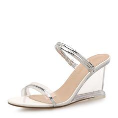 Женщины PU Вид каблука Сандалии Танкетка Открытый мыс Босоножки с Другие обувь (085165162)