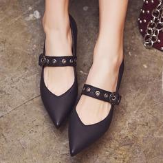 Женщины кожа Устойчивый каблук На каблуках Закрытый мыс Mary Jane с пряжка Другие обувь (085153078)
