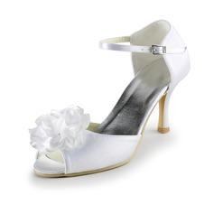 Vrouwen Satijn Stiletto Heel Peep Toe Sandalen met Gesp Satijnen Strik (047025062)