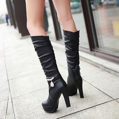 Женщины кожа Высокий тонкий каблук На каблуках Платформа Ботинки Сапоги до колен с горный хрусталь Цепь обувь (088125603)