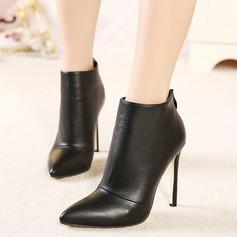 Женщины Замша Высокий тонкий каблук На каблуках Ботинки с Застежка-молния обувь (088103836)