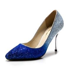 Женщины Мерцающая отделка Высокий тонкий каблук На каблуках Закрытый мыс обувь (085059877)