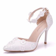 Frauen Kunstleder Spule Absatz Geschlossene Zehe Flache Schuhe mit Applikationen (047166117)