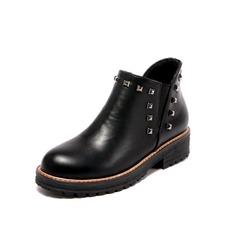 Женщины кожа Низкий каблук Ботинки обувь (088098486)