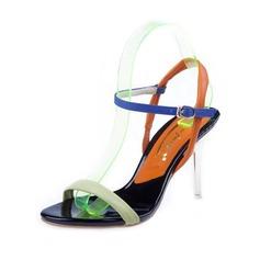 Женщины кожа Высокий тонкий каблук Сандалии Босоножки с пряжка обувь (087050253)