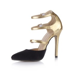 Suede Patent Leather Stiletto Heel Pumps Closed Toe met Gesp schoenen (085026436)