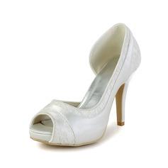 Naisten Satiini Kitten Heel Peep Toe Sandaalit jossa Stitching Lace (047033122)
