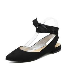 Женщины Замша Низкий каблук На плокой подошве Босоножки с Шнуровка обувь (086132527)