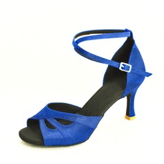 Женщины Атлас На каблуках На каблуках Латино с Ремешок на щиколотке Обувь для танцев (053061010)