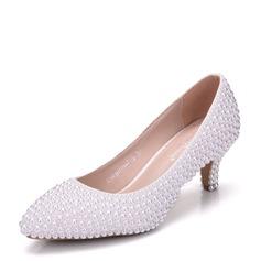 Vrouwen Kunstleer Stiletto Heel Closed Toe Pumps met Imitatie Parel (047144219)