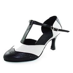 De mujer Piel Tacones Salón Sala de Baile con Tira T Zapatos de danza (053013131)