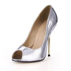 Konstläder Stilettklack Sandaler Pumps Peep Toe skor (087051820)