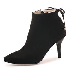 Femmes Suède Talon stiletto Escarpins Bout fermé Bottes Bottines avec Bowknot Zip chaussures (088176512)