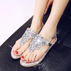 Mulheres Couro verdadeiro Sem salto Sem salto Sandálias Beach Wedding Shoes com Fivela Strass (047125418)
