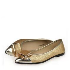 Женщины Мерцающая отделка Плоский каблук На плокой подошве Закрытый мыс с бантом обувь (086137056)