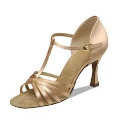 Mulheres Cetim Saltos Sandálias Latino com Correia -T Sapatos de dança (053090355)