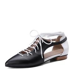 Женщины PVC Плоский каблук Сандалии На плокой подошве с Шнуровка обувь (086153767)
