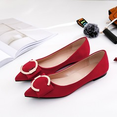 Женщины Замша Плоский каблук На плокой подошве Закрытый мыс с пряжка обувь (086173047)