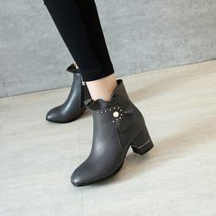 Женщины кожа Устойчивый каблук На каблуках Ботинки Полусапоги с жемчуг обувь (088139477)