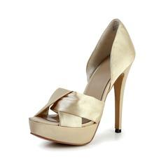 Vrouwen Satijn Stiletto Heel Peep Toe Plateau Sandalen (047029127)