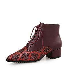 Женщины Кожа из микроволокна Устойчивый каблук На каблуках Закрытый мыс Ботинки с Шнуровка Соединение врасщеп обувь (088132676)