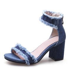 Kvinnor Jeans Tjockt Häl Sandaler Pumps Peep Toe med Andra skor (087155394)
