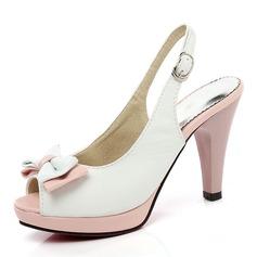 Женщины PU Высокий тонкий каблук Сандалии На каблуках Платформа Открытый мыс Босоножки с бантом обувь (087155470)