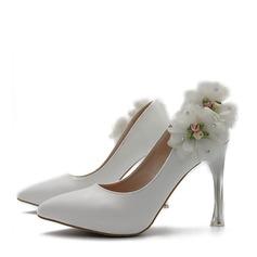 Женщины кожа Высокий тонкий каблук Закрытый мыс На каблуках с Цветок (047149250)