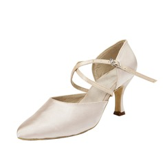 Women's Satin Heels Pumps Ballroom With Ankle Strap Dance Shoes (053054532)