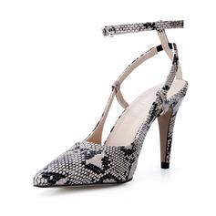 Женщины кожа Высокий тонкий каблук На каблуках Закрытый мыс с Животных печати обувь (085047288)