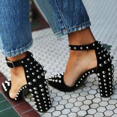 Женщины Замша Устойчивый каблук Сандалии На каблуках Закрытый мыс с заклепки пряжка обувь (087124935)