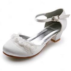 Vrouwen Satijn Low Heel Closed Toe Flats met Gesp Stitching Lace (047011900)