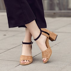 Women's Suede Chunky Heel Sandals Peep Toe With Buckle shoes (087145430)