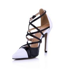 Patent Leather Stiletto Heel Pumps Closed Toe met Gesp Gesplitste Stof schoenen (085029177)