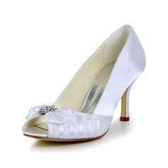 Vrouwen Satijn Cone Heel Peep Toe Pumps Sandalen met Strik Strass (047029575)