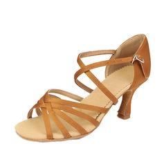 Femmes Satiné Talons Sandales Latin avec Lanière de cheville Chaussures de danse (053058446)