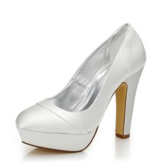 Женщины Атлас Устойчивый каблук Закрытый мыс На каблуках разукрашиваемая обувь (047088671)
