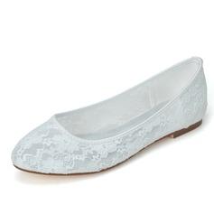 Vrouwen Kant Flat Heel Closed Toe Flats (047058262)