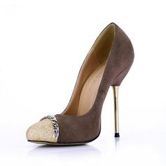 Femmes Suède Pailletes scintillantes Talon stiletto Escarpins Bout fermé avec Chaîne chaussures (085022621)