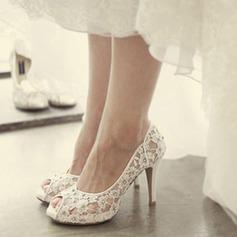 Женщины Кружева Высокий тонкий каблук Открытый мыс Платформа Beach Wedding Shoes с горный хрусталь (047126536)