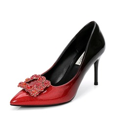 Women's Patent Leather Stiletto Heel Pumps Closed Toe With Rhinestone shoes (085155241)