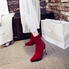 Женщины Замша Высокий тонкий каблук На каблуках Ботинки Сапоги до середины голени с Застежка-молния Шнуровка обувь (088130799)