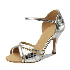 Mulheres Couro Saltos Sandálias Latino Sapatos de dança (053090351)