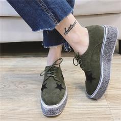 Женщины Замша Вид каблука Закрытый мыс Танкетка с Шнуровка обувь (086139712)